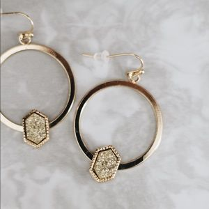 6d9f69219aa74e NAT ✨ Gold Druzy Stone Boho Hoop Earrings